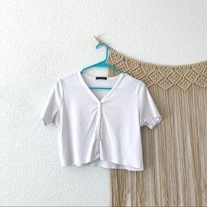 Brandy Melville White Button Up Top